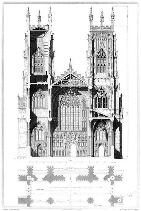 Amiens Cathedral Floor Plan by York Cathedral Elevation And Section Old Book Illustrations