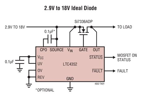 diode forward voltage mosfet ltc4352 low voltage ideal diode controller with monitoring linear technology