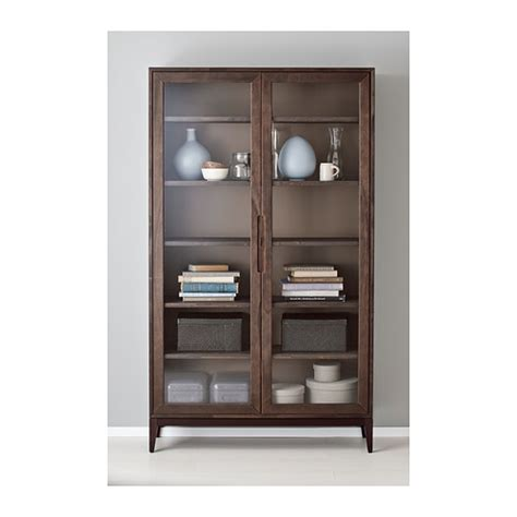 ikea storage cabinets with glass doors regiss 214 r glass door cabinet brown 118x203 cm ikea