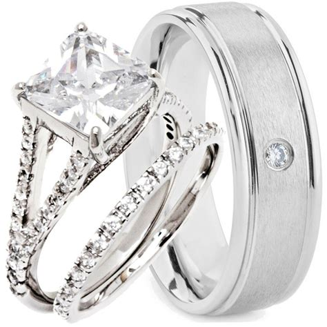 pcs    wedding rings engagement cz