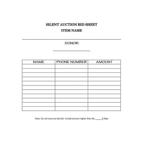bid sheets for silent auction template 40 silent auction bid sheet templates word excel