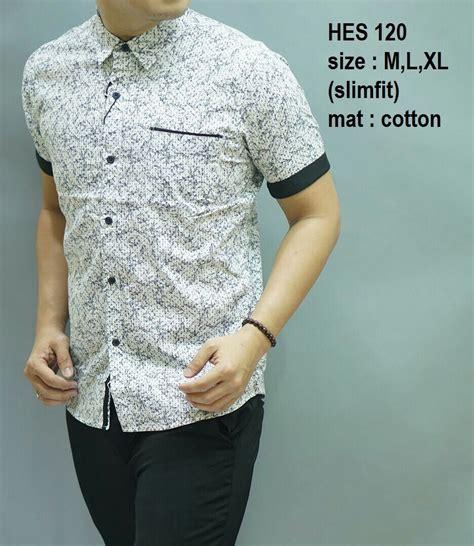 Hes 197 Baju Batik Kemeja Pria Slim Fit Lengan Pendek Keren kemeja batik pria kantoran hes 120 baju batik pria