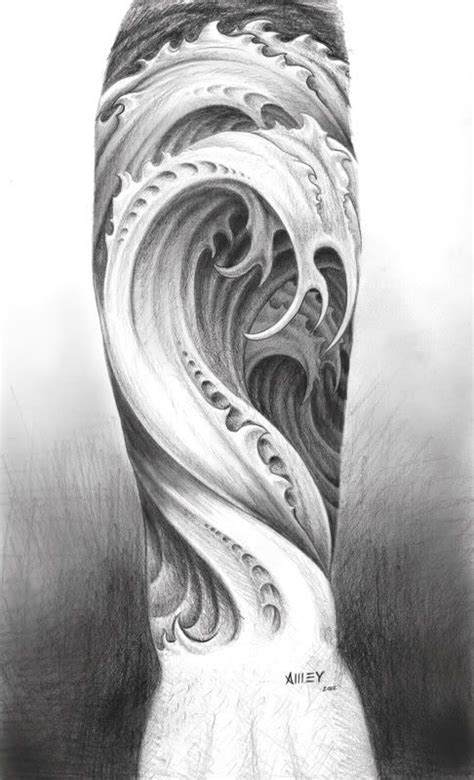 wave tattoo quarter sleeve tattoos for squares water tattoo design by m amey jpg