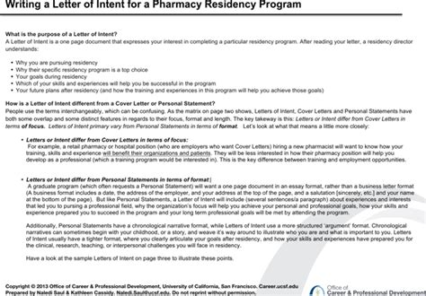 Letter Of Intent Exle Pharmacy Residency letter of intent for pharmacy residency for free