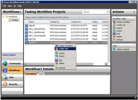 citrix workflow studio workflow execution within citrix workflow passing