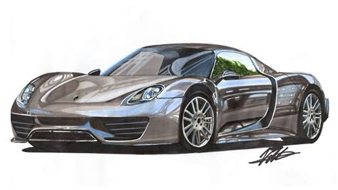 car drawing car drawing porsche 918 lapse