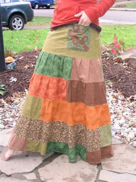 Doggie From Tree Hippyshopper by Handmade Hippie Pacthwork Tiered Skirt With Tree Applique