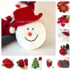 thinking of christmas crochet coasters snowman crochet