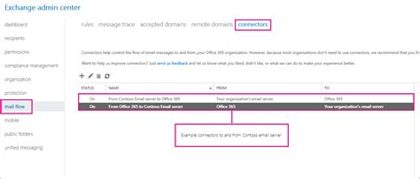 set up connectors to route mail between office 365 and