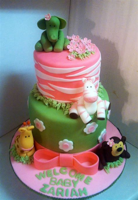 Strawberry Baby Shower Cake by Jungle Theme Cake I Did For A Baby Shower Four Layer