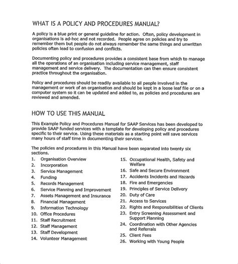 policy and procedure document template 12 policy and procedure templates to sle