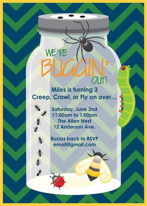 Printable Or Emailable Bugs Insect Birthday Party By Bugluv Bug Invitation Template