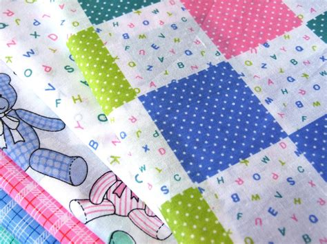 Patchwork Bunting - baby nursery bears alphabet pink blue green polycotton