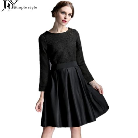Black Slim Waist Dress jy autumn winter hepburn dress slim waist sleeve black vintage dress