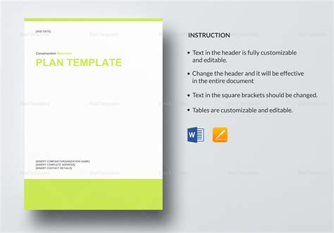 Construction Business Plan Template In Word Google Docs Apple Pages Construction Business Plan Template Word