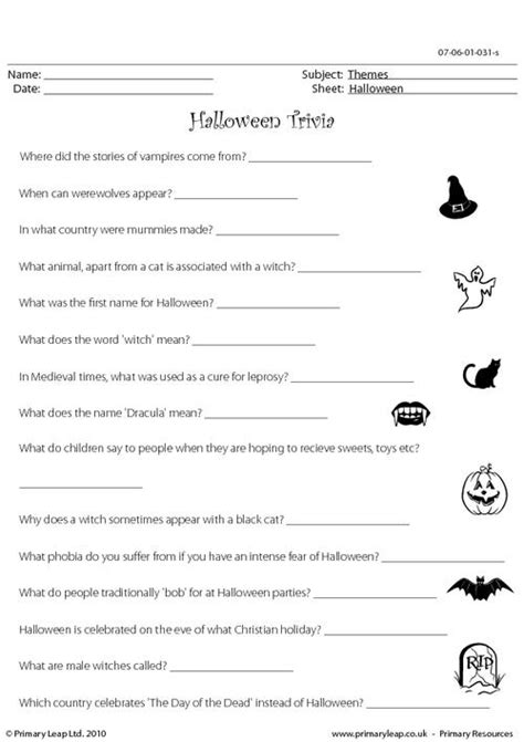 printable free halloween trivia questions and answers primaryleap co uk halloween trivia hard worksheet