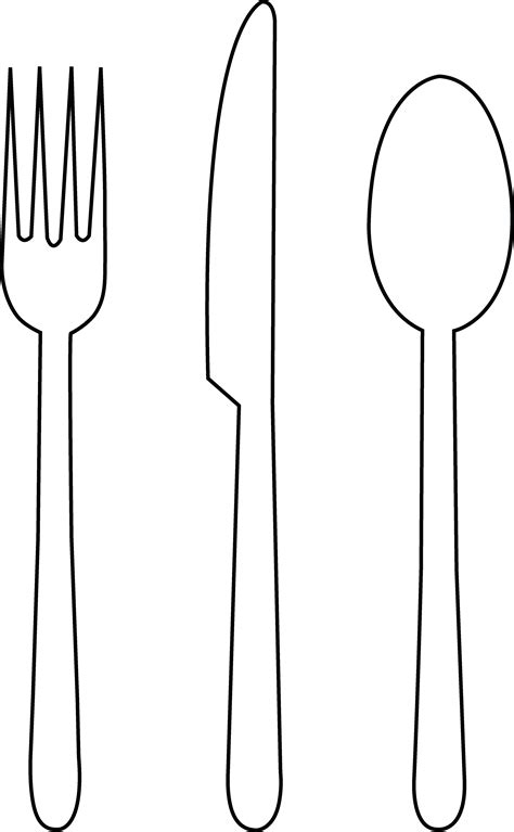 Kitchen Forks And Knives by Colorable Tableware Free Clip Art