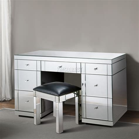 mirrored dressing table foxhunter mirrored furniture glass dressing table with