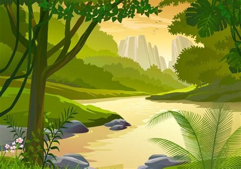 Landscape Illustration Free Vector Forest Landscape Illustration 02 Titanui