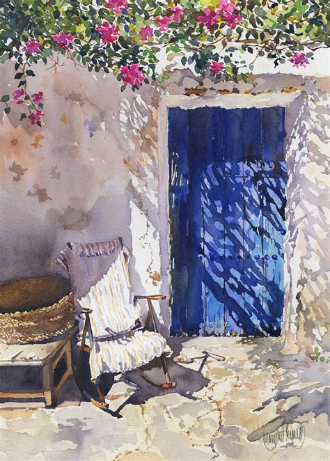 New Farmhouse Plans blue door painting by margaret merry