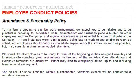 attendance policy template sle human resources policies sle procedures for