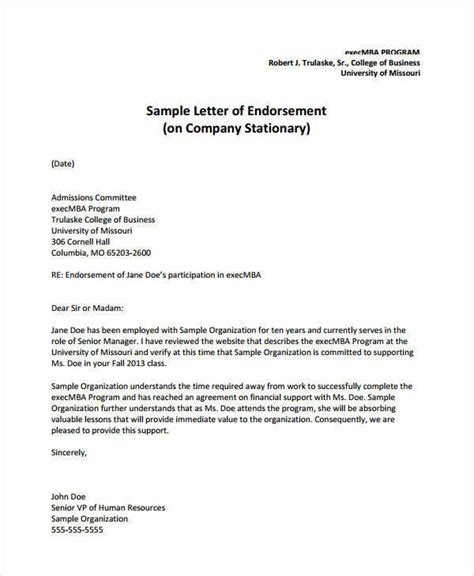 certification letter of endorsement sle business letter endorsement sle 28 images letter of