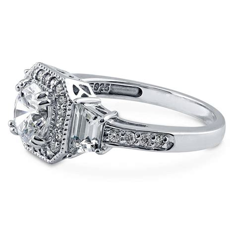 cz deco engagement rings berricle sterling silver cut cz halo deco