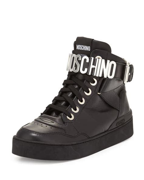 Lettering Lace Up Sneakers moschino lettering leather high top sneaker black
