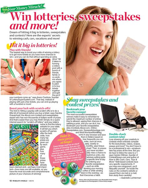 Womans World Magazine Sweepstakes - win lotteries sweepstakes and more contestqueen