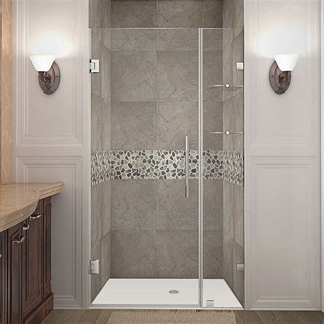 Frameless Hinged Glass Shower Doors Aston Sdr990 Nautis Gs Completely Frameless Hinged Shower Door With Glass Shelves Atg Stores