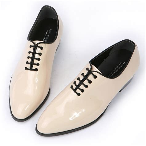 Heels Glosy Ivory Bagus Termurah mens glossy ivory plain toe lace up high heels oxfords korea comfortable dress shoes