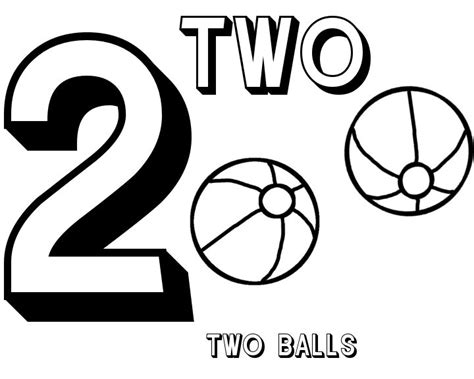 coloring page for number 2 free number 2 twov balls coloring sheet place to go