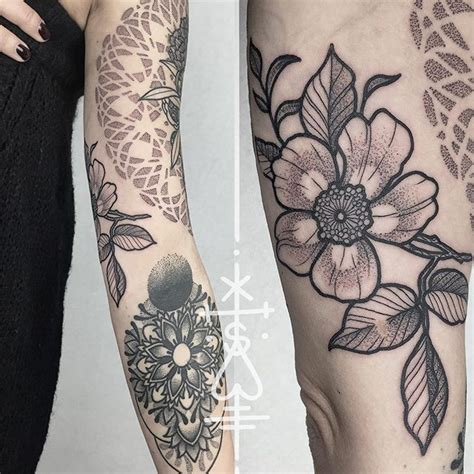 quarter sleeve tattoo filler continued another patchwork sleeve dotmandala and flower