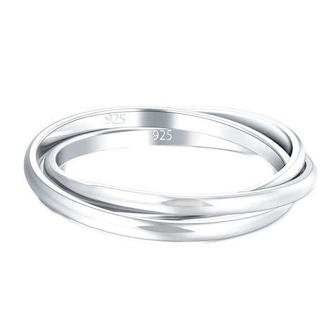 925 sterling silver ring interlocked rolling high