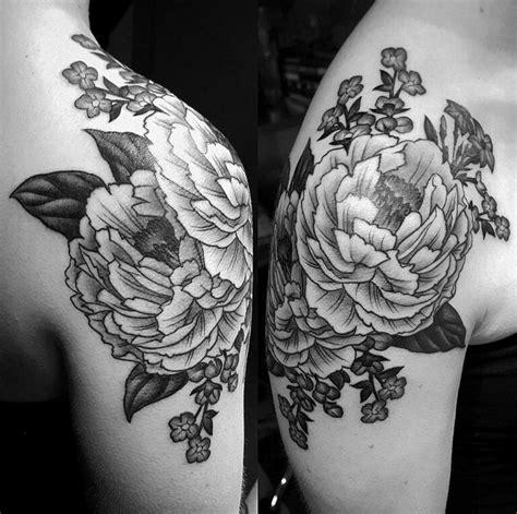 shoulder tattoo black and grey black and grey peony shoulder tattoo tattoo pinterest