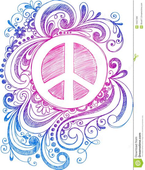 sign and doodle sketchy doodle peace sign vector stock vector image