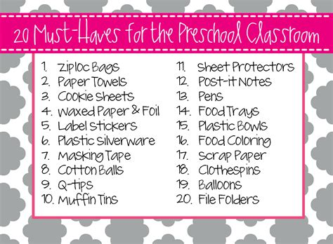 top 5 list of must have items for your home office preschool ponderings must haves for the preschool classroom