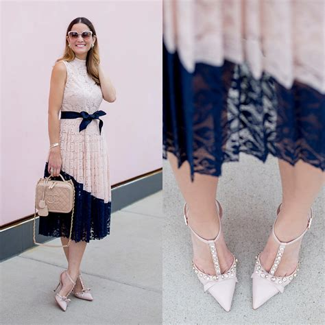 Pearl Dress By Finoura Navy jenn lake topshop pink and navy lace dress kate spade pink lydia heels chanel vanity