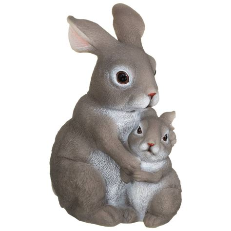hugging rabbits ornament grey garden gnomes bm