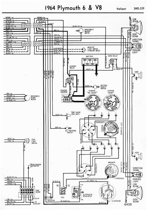 wiring diagrams of 1964 plymouth 6 and v8 valiant part 2 circuit wiring diagrams