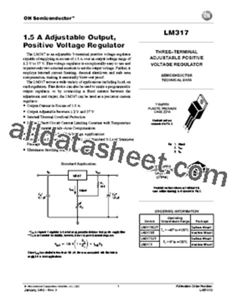 transistor lm317 lm317 datasheet pdf on semiconductor