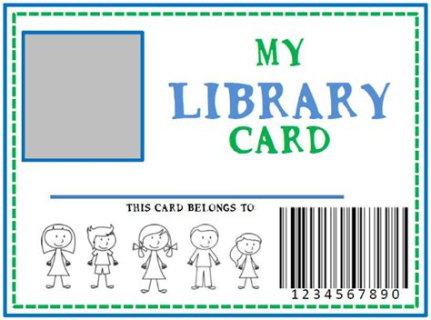 library id card template family library diy pretend library card