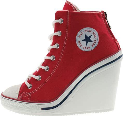 high hill sneakers maxstar womens 777 back zipper canvas high wedge heel