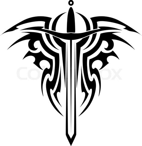 tribal tattoo design with medieval sword isolated on white