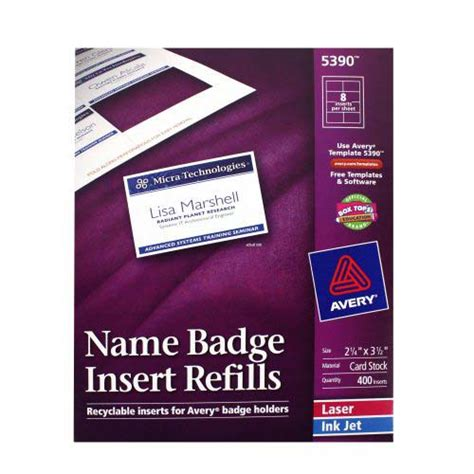 avery 5390 name badge template avery name badge insert refills 2 1 4 quot x 3 1 2 quot 8up 50
