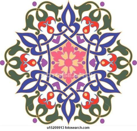islamic pattern flower clipart of green blue pink red and purple flower