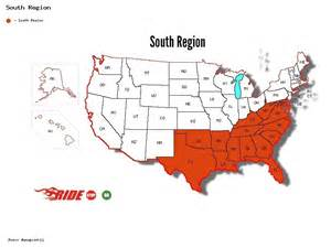 usa map south states south region