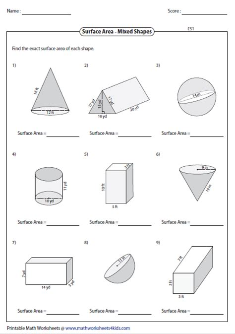 printable math worksheets surface area surface area worksheet calleveryonedaveday