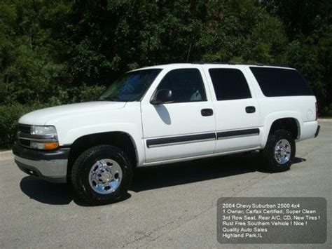find used 2004 chevy suburban 2500 ls 4wd 3rd row 1owner rear a c carfax new tires nice in
