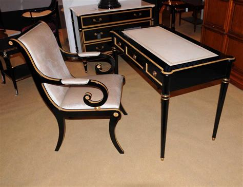 writing desk and chair regency black lacquer writing desk chair set